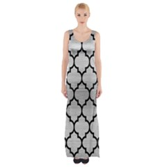 TIL1 BK MARBLE SILVER (R) Maxi Thigh Split Dress