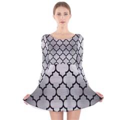 TIL1 BK MARBLE SILVER (R) Long Sleeve Velvet Skater Dress