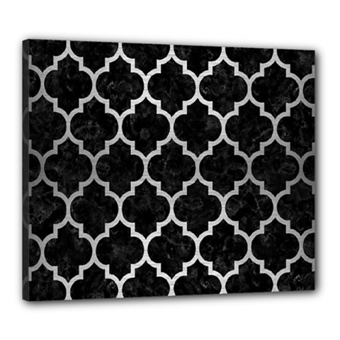 Tile1 Black Marble & Silver Brushed Metal Canvas 24  X 20  (stretched)