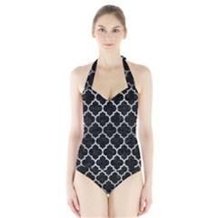Tile1 Black Marble & Silver Brushed Metal Halter Swimsuit