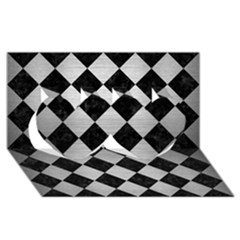 Square2 Black Marble & Silver Brushed Metal Twin Hearts 3d Greeting Card (8x4)