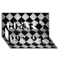 Square2 Black Marble & Silver Brushed Metal Best Wish 3d Greeting Card (8x4)