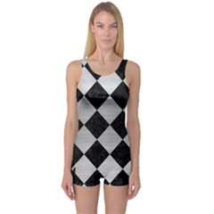 Square2 Black Marble & Silver Brushed Metal One Piece Boyleg Swimsuit