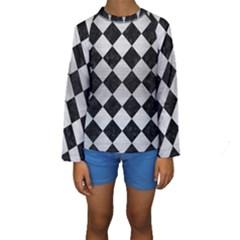 SQR2 BK MARBLE SILVER Kid s Long Sleeve Swimwear