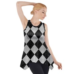 Square2 Black Marble & Silver Brushed Metal Side Drop Tank Tunic