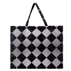 SQR2 BK MARBLE SILVER Zipper Large Tote Bag