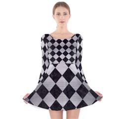 SQR2 BK MARBLE SILVER Long Sleeve Velvet Skater Dress