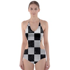 SQR1 BK MARBLE SILVER Cut-Out One Piece Swimsuit