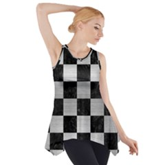 SQR1 BK MARBLE SILVER Side Drop Tank Tunic