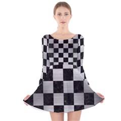 SQR1 BK MARBLE SILVER Long Sleeve Velvet Skater Dress