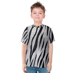 Skin3 Black Marble & Silver Brushed Metal (r) Kids  Cotton Tee