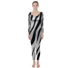 Skin3 Black Marble & Silver Brushed Metal (r) Long Sleeve Catsuit