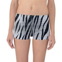 Skin3 Black Marble & Silver Brushed Metal (r) Boyleg Bikini Bottoms