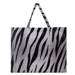 SKN3 BK MARBLE SILVER (R) Zipper Large Tote Bag