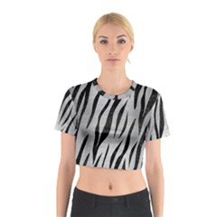 Skin3 Black Marble & Silver Brushed Metal (r) Cotton Crop Top