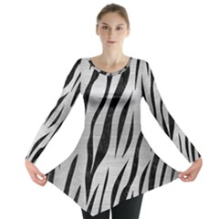 Skin3 Black Marble & Silver Brushed Metal (r) Long Sleeve Tunic