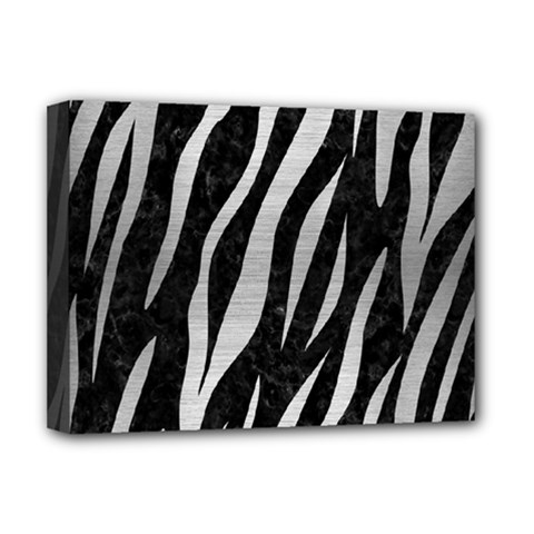 Skin3 Black Marble & Silver Brushed Metal Deluxe Canvas 16  X 12  (stretched)