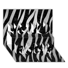 Skin3 Black Marble & Silver Brushed Metal You Rock 3d Greeting Card (7x5)