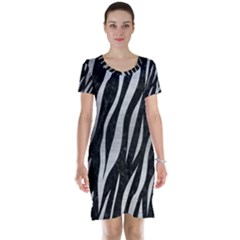 Skin3 Black Marble & Silver Brushed Metal Short Sleeve Nightdress