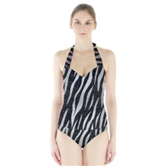 SKN3 BK MARBLE SILVER Women s Halter One Piece Swimsuit