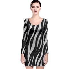 SKN3 BK MARBLE SILVER Long Sleeve Velvet Bodycon Dress