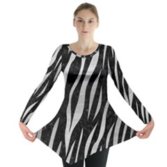 Skin3 Black Marble & Silver Brushed Metal Long Sleeve Tunic
