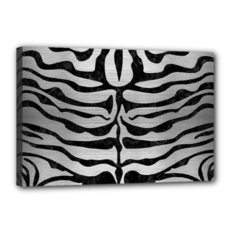 Skin2 Black Marble & Silver Brushed Metal (r) Canvas 18  X 12  (stretched)
