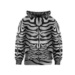 Skin2 Black Marble & Silver Brushed Metal (r) Kids  Zipper Hoodie