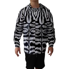 Skin2 Black Marble & Silver Brushed Metal (r) Hooded Wind Breaker (kids)
