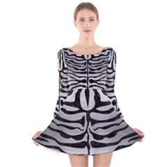 Skin2 Black Marble & Silver Brushed Metal (r) Long Sleeve Velvet Skater Dress