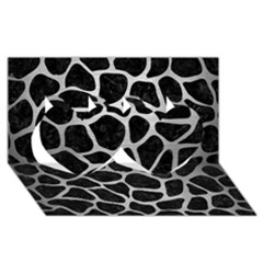 Skin1 Black Marble & Silver Brushed Metal (r) Twin Hearts 3d Greeting Card (8x4)