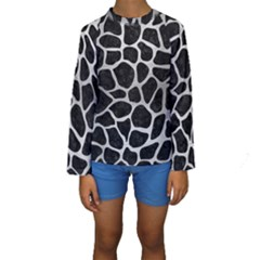 Skin1 Black Marble & Silver Brushed Metal (r) Kids  Long Sleeve Swimwear