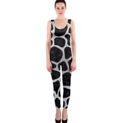 Skin1 Black Marble & Silver Brushed Metal (r) Onepiece Catsuit