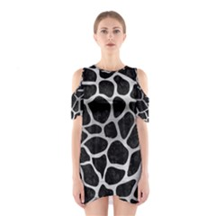SKN1 BK MARBLE SILVER (R) Cutout Shoulder Dress