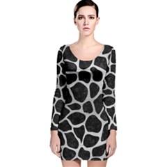 SKN1 BK MARBLE SILVER (R) Long Sleeve Velvet Bodycon Dress
