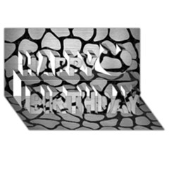 Skin1 Black Marble & Silver Brushed Metal Happy Birthday 3d Greeting Card (8x4)