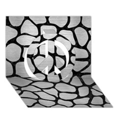 Skin1 Black Marble & Silver Brushed Metal Peace Sign 3d Greeting Card (7x5)