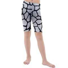 Skin1 Black Marble & Silver Brushed Metal Kids  Mid Length Swim Shorts