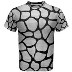 Skin1 Black Marble & Silver Brushed Metal Men s Cotton Tee