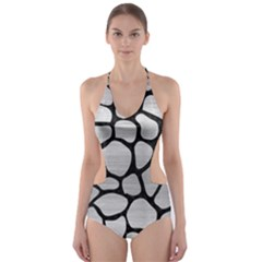 SKN1 BK MARBLE SILVER Cut-Out One Piece Swimsuit