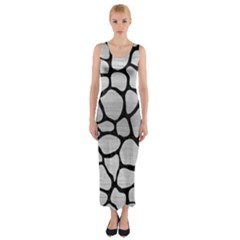 SKN1 BK MARBLE SILVER Fitted Maxi Dress
