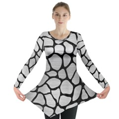 SKN1 BK MARBLE SILVER Long Sleeve Tunic