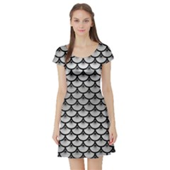 Scales3 Black Marble & Silver Brushed Metal (r) Short Sleeve Skater Dress