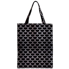 Scales3 Black Marble & Silver Brushed Metal Zipper Classic Tote Bag