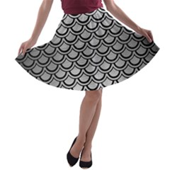 Scales2 Black Marble & Silver Brushed Metal (r) A Line Skater Skirt