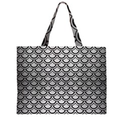 SCA2 BK MARBLE SILVER (R) Large Tote Bag