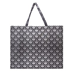 SCA2 BK MARBLE SILVER (R) Zipper Large Tote Bag