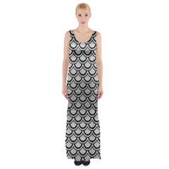 Scales2 Black Marble & Silver Brushed Metal (r) Maxi Thigh Split Dress