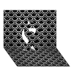 Scales2 Black Marble & Silver Brushed Metal Ribbon 3d Greeting Card (7x5)