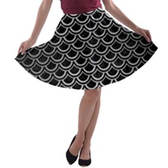 Scales2 Black Marble & Silver Brushed Metal A Line Skater Skirt